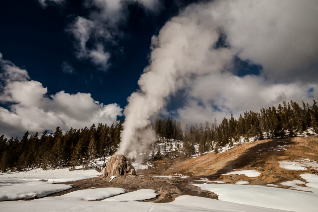 """The raw power of Lone Star Geyser emitting it's 40 foot blast of high pressured steam during the frozen winter months in Yellowstone is absolutely...Incredible! Order a Limited Edition Print of """"Incredible"""" here: https://backcountryjourneys.com/blog/2013/12/incredible"""